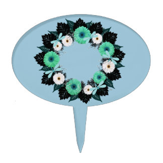 """Wreath """"Teal Dragonfly"""" Teal Flowers Cake Pick"""