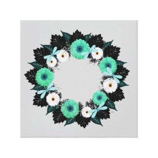 "Wreath ""Teal Dragonfly"" Teal Flowers Canvas Print"