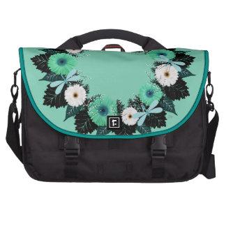 "Wreath ""Teal Dragonfly"" Teal Flowers Laptop Bag"