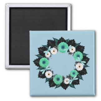 """Wreath """"Teal Dragonfly"""" Teal Flowers Magnet"""