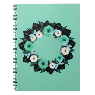 """Wreath """"Teal Dragonfly"""" Teal Flowers Notebook"""