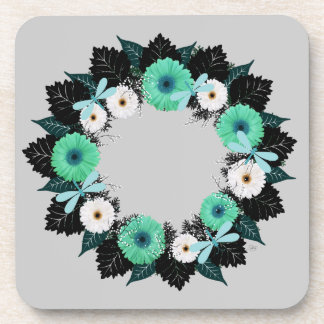 """Wreath """"Teal Dragonfly"""" Teal/White Flower Coasters"""