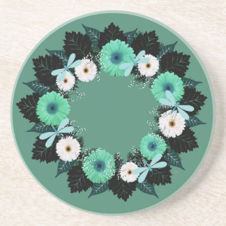 "Wreath ""Teal Dragonfly"" Teal/White Flower Coasters"