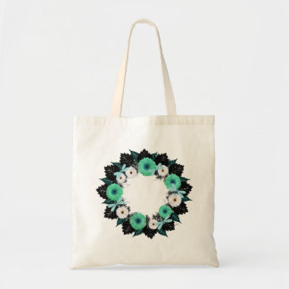 """Wreath """"Teal Dragonfly"""" Teal/White Flower Tote Bag"""