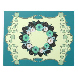 "Wreath ""Teal Dragonfly"" White/Teal Flowers Notepad"