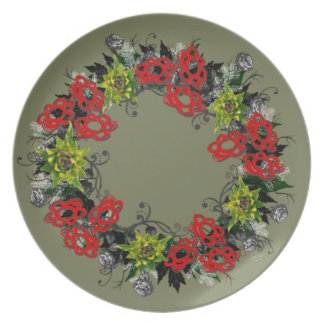 "Wreath ""Triple Flower"" Floral Melamine Plate"