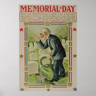 Wreath Veteran Cemetery Tombstone Poster
