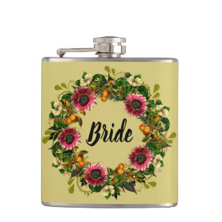 "Wreath ""Victoria Wedding"" Flowers Floral Flask"