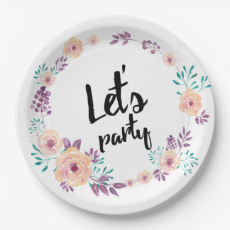Wreath watercolored flowers paper plate