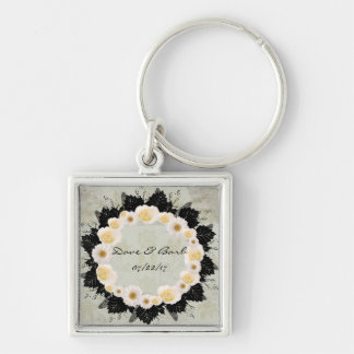 "Wreath ""White Wedding"" White Flowers Keychain"