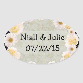 "Wreath ""White Wedding"" White Flowers Stickers"