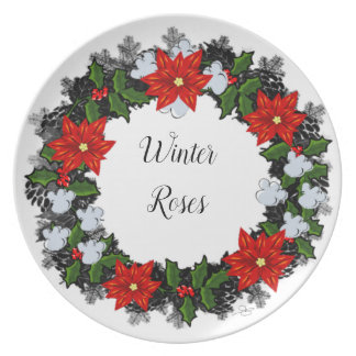 "Wreath ""Winter Roses"" Flower Floral Melamine Plate"
