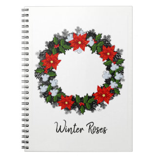 "Wreath ""Winter Roses"" Flowers Floral Notebook"