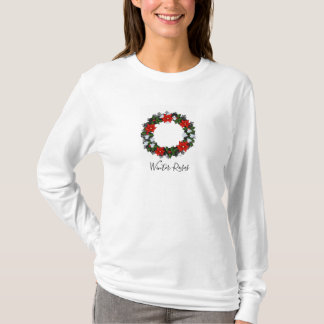 "Wreath ""Winter Roses"" Flowers Floral T-Shirt"