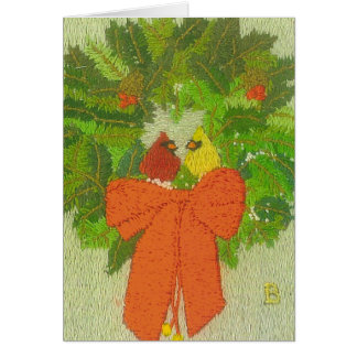 Wreath with Cardinal Pair Card