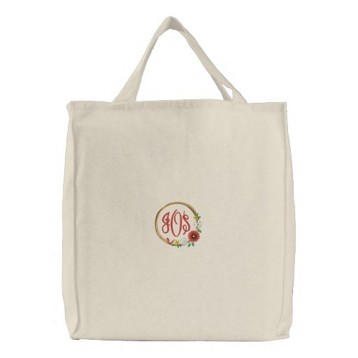 Wreath with Flowers, Bird and Monogram Embroidered Tote Bag