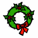 Wreath with holly & bow