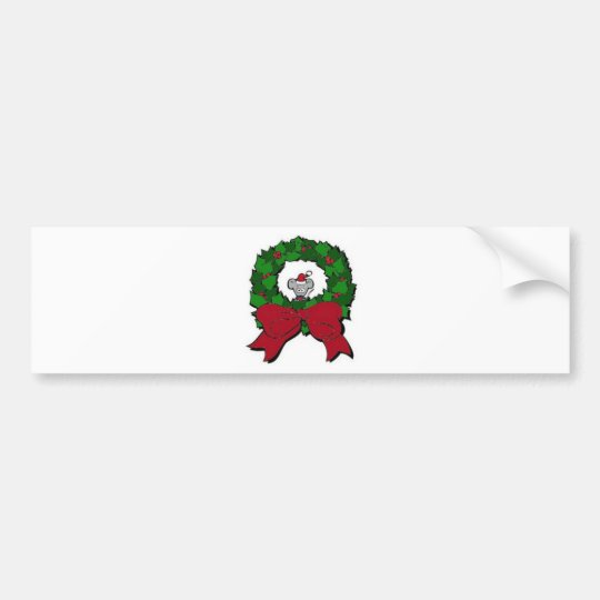 wreath with mouse bumper sticker