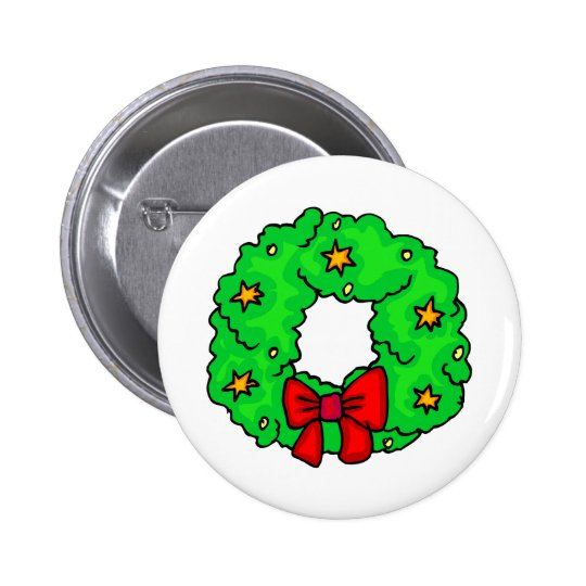 Wreath With Stars Pinback Button