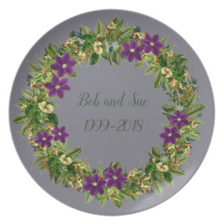 "Wreath ""Wow Purple"" Flowers Floral Melamine Plate"