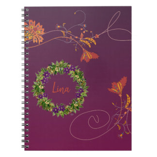 "Wreath ""Wow Purple"" Flowers Floral Notebook"
