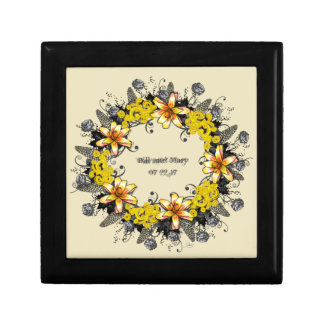 """Wreath """"Yellow Yellow"""" Flowers Floral Jewelry Box"""