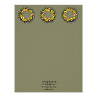 "Wreath ""Yellow Yellow"" Flowers Floral Letterhead"