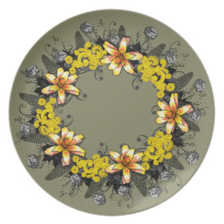 "Wreath ""Yellow Yellow"" Flowers Floral Plate"