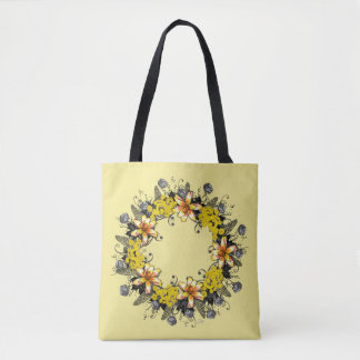 """Wreath """"Yellow Yellow"""" Flowers Floral Tote Bag"""
