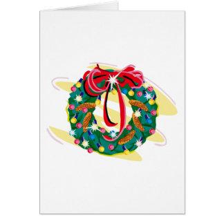 Wreather adornó con los pinecones y el arco tarjeta