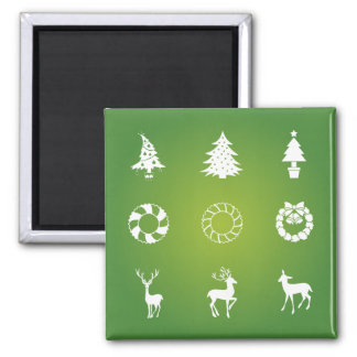Wreathes Reindeer and Christmas Trees Silhouette 2 Inch Square Magnet