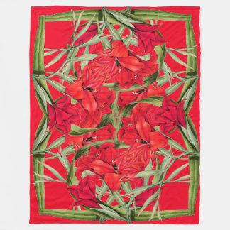 Wreaths of Flower Hearts Floral Fleece Blanket