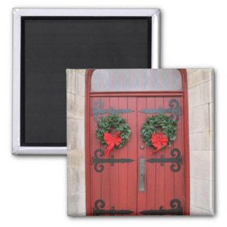 Wreaths on Red Door Magnet