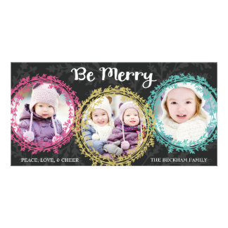 Wreaths Three Photo Holiday Photo Card / Gray