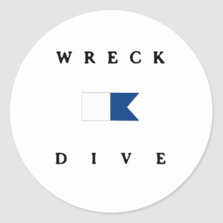 Wreck Alpha Dive Flag Classic Round Sticker
