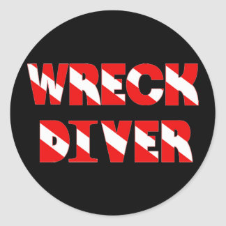 Wreck Diver Text Style Classic Round Sticker