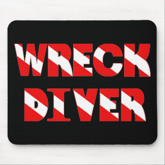 Wreck Diver Text Style Mouse Pad
