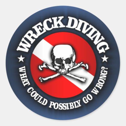 Wreck Diving Skull Classic Round Sticker