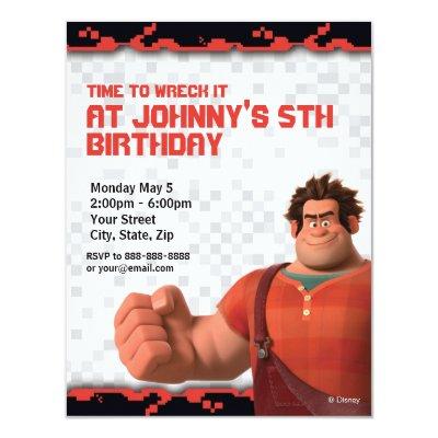 Wreck-It Ralph Birthday Invitation 4.25