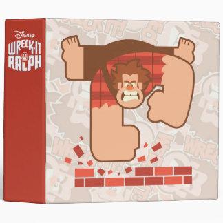 Wreck it Ralph Pounding Bricks 3 Ring Binder