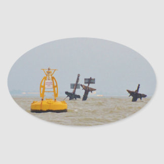 Wreck of The Steam Ship Richard Montgomery. Oval Sticker