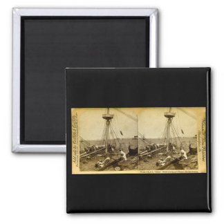 Wreck of the U.S.S. Maine Divers Coming Up Vintage 2 Inch Square Magnet