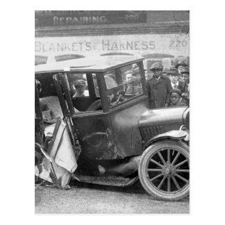 Wrecked Antique Car, 1920s Postcard