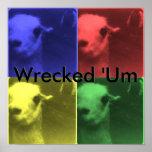 Wrecked 'Um 4 Color Llama Poster