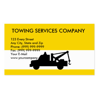 Wrecker tow pick-up truck, TOWING SERVICES COMP... Business Cards