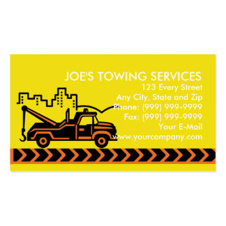Wrecker tow truck with building business cards