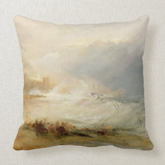 Wreckers - Coast of Northumberland, With a Steam B Throw Pillow