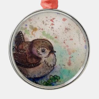 Wren amongst the clover metal ornament