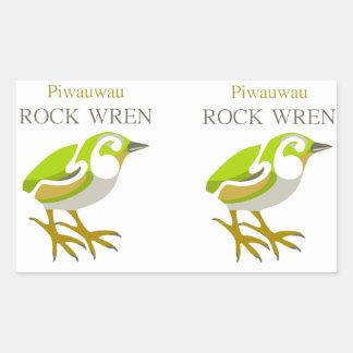 Wren de roca isla del sur pájaro de NZ Etiquetas