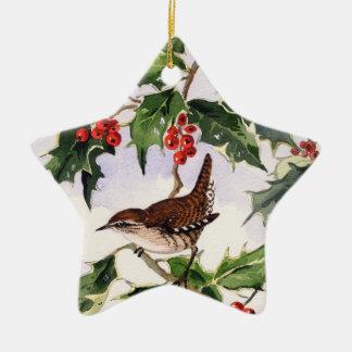 Wren In A Holly Bush Ceramic Ornament